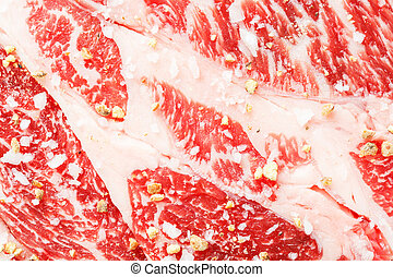 Beef chuck steak with sea salt and pepper - Close up beef...