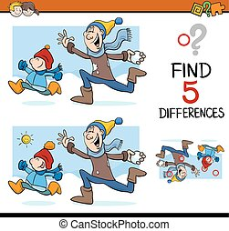 differences activity task - Cartoon Illustration of Finding...