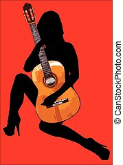 Hot Guitar Woman Isolated On Red