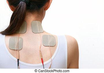 paciente, mujer, es, hacer, masaje, de, eléctrico,...