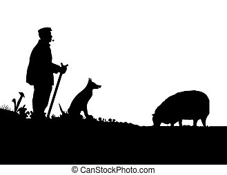 Shepherd with Dog and Silhouette 2 - Vector Shepherd with...