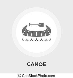 Canoe Vector Flat Icon - Canoe icon vector Flat icon...