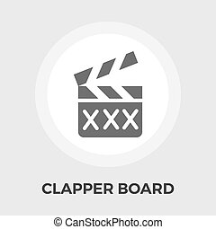 Director clapperboard flat icon - Director clapperboard icon...