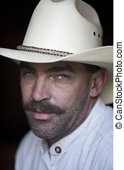 American cowboy. - An portrait close up of an American...