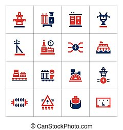 Set color icons of power industry isolated on white Vector...