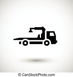 Tow truck icon isolated on grey. Vector illustration