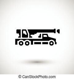 Crane truck icon isolated on grey Vector illustration