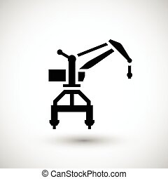 Harbor crane icon isolated on grey Vector illustration