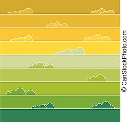 Rainbow colored sky with clouds Vector illustration for...