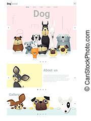 Animal website template banner and infographic with Dog 3 -...