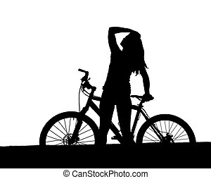 cyclist with mountain bike - Silhouette of a cyclist with...