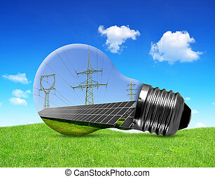 eco lightbulb - Solar panels with pylons in light bulb....