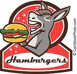 Donkey Serving Burger Diner Retro