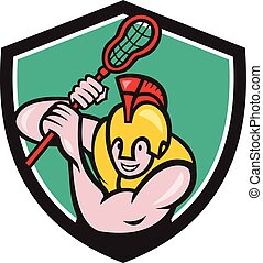 Gladiator Lacrosse Player Stick Crest Cartoon - Illustration...