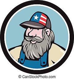 Hillbilly Man Beard Circle Cartoon - Illustration of a head...