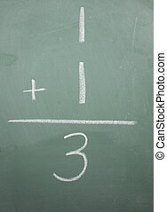 One plus one equals three written on a blackboard.