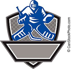 Ice Hockey Goalie Crest Retro - Illustration of a ice hockey...
