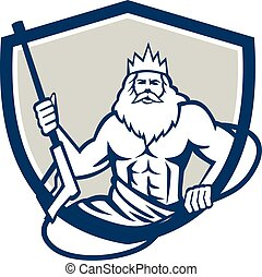 Neptune Power Washer Shield Retro - Illustration of a...