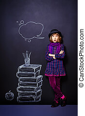 literature - Educational concept Teen girl standing by the...
