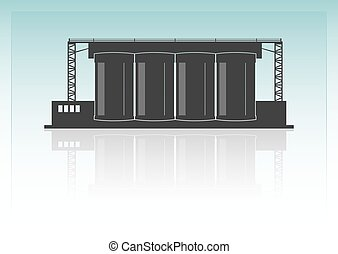Cement factory Isolated on background Vector illustration