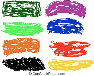 Rainbow vector brush strokes collection