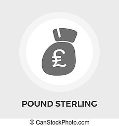 Pound sterling icon flat - Pound sterling icon vector. Flat...