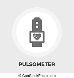 Pulsometer icon flat - Pulsometer icon vector. Flat icon...
