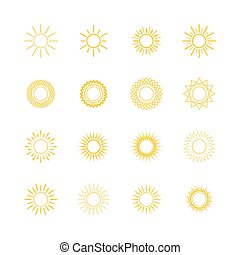 Yellow Sun, Line Style Design - Set of Different Images of...