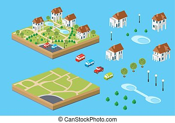 Rural house isometric set of facilities for the construction...