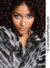 Woman Wearing Fur - Beautiful black woman wearing fur