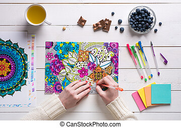 Flat lay, female coloring adult coloring books, new stress...