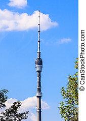 Ostankino TV tower on blue sky background, Moscow
