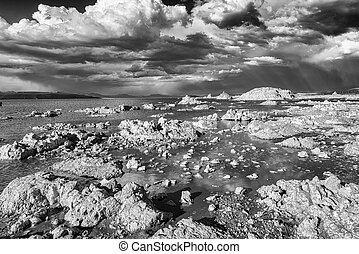 Mono Lake - Tufa formations in Mono Lake. Monochrome....
