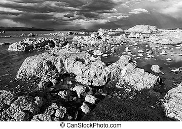 Mono Lake - Tufa formations in Mono Lake Monochrome...