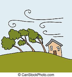 heavy winds bending Trees on a windy day - An image of heavy...