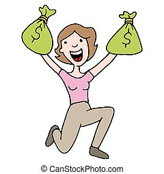 Woman holding runaway savings money bag - An image of a...