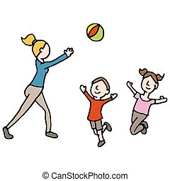 baby sitter playing ball with children - An image of a baby...