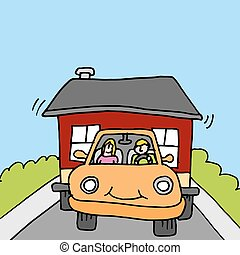 towing tiny house - An image of people towing a tiny house