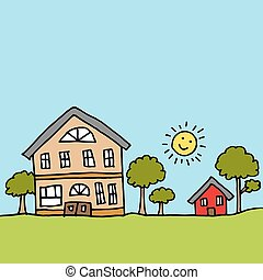 Large house next to a tiny house - An image of a large house...