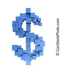 dollar pixel box symbol
