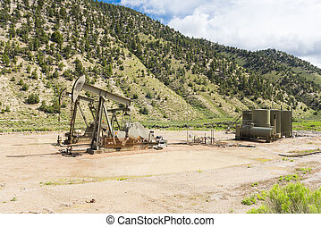 Oil well - Oil drilling well, northern Utah. USA