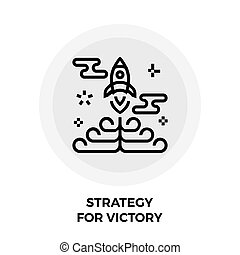 Strategy For Victory Line Icon - Strategy icon vector. Flat...