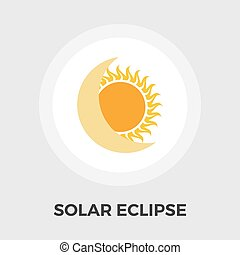 Solar eclipse flat icon - Solar eclipse icon vector Flat...