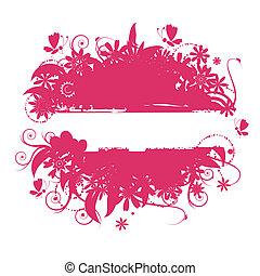 Floral frame, summer illustration