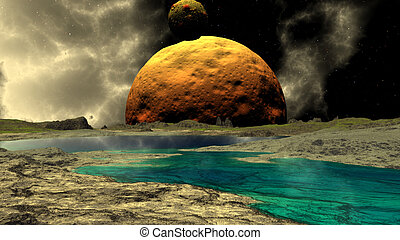Fantasy alien planet. Rocks and lake. 3D illustration -...
