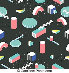 Postmodern 80s style seamless pattern. 3d isometric...