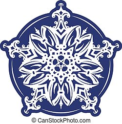 Abstract vector blue lace design - five-finger mandala,...