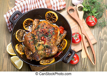 roasted whole chicken with vegetables - fried chicken with...