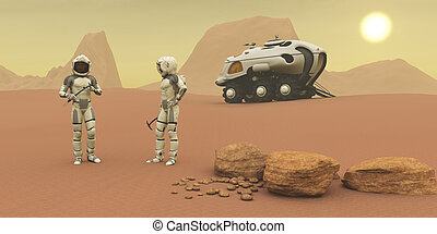 Martian Exploration - Two intrepid explorers talk together...