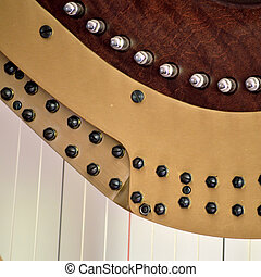 Pedal harp tuning mechanisms closeup - Closeup of the...